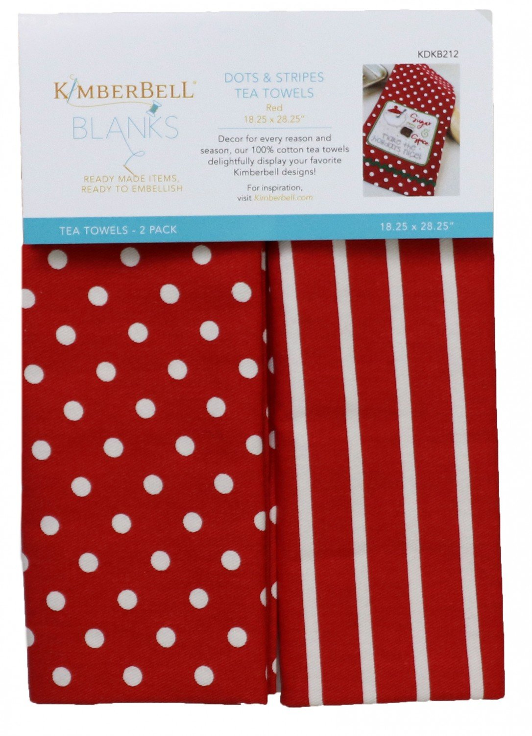 Dots and Stripes Tea Towels Red