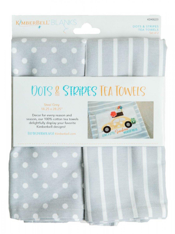Dots & Stripes Tea Towels - Steel Gray