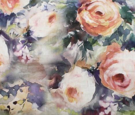 Mauve Roses - Digital Linen Print - Telio