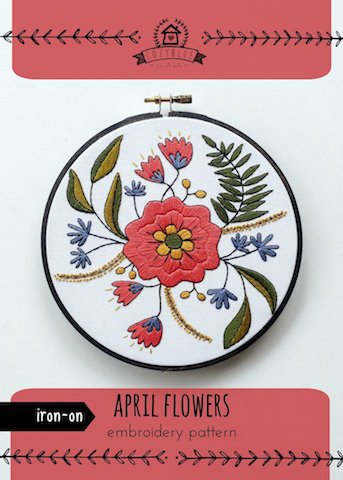 April Flowers - Cozy Blue - Iron-On Embroidery Pattern