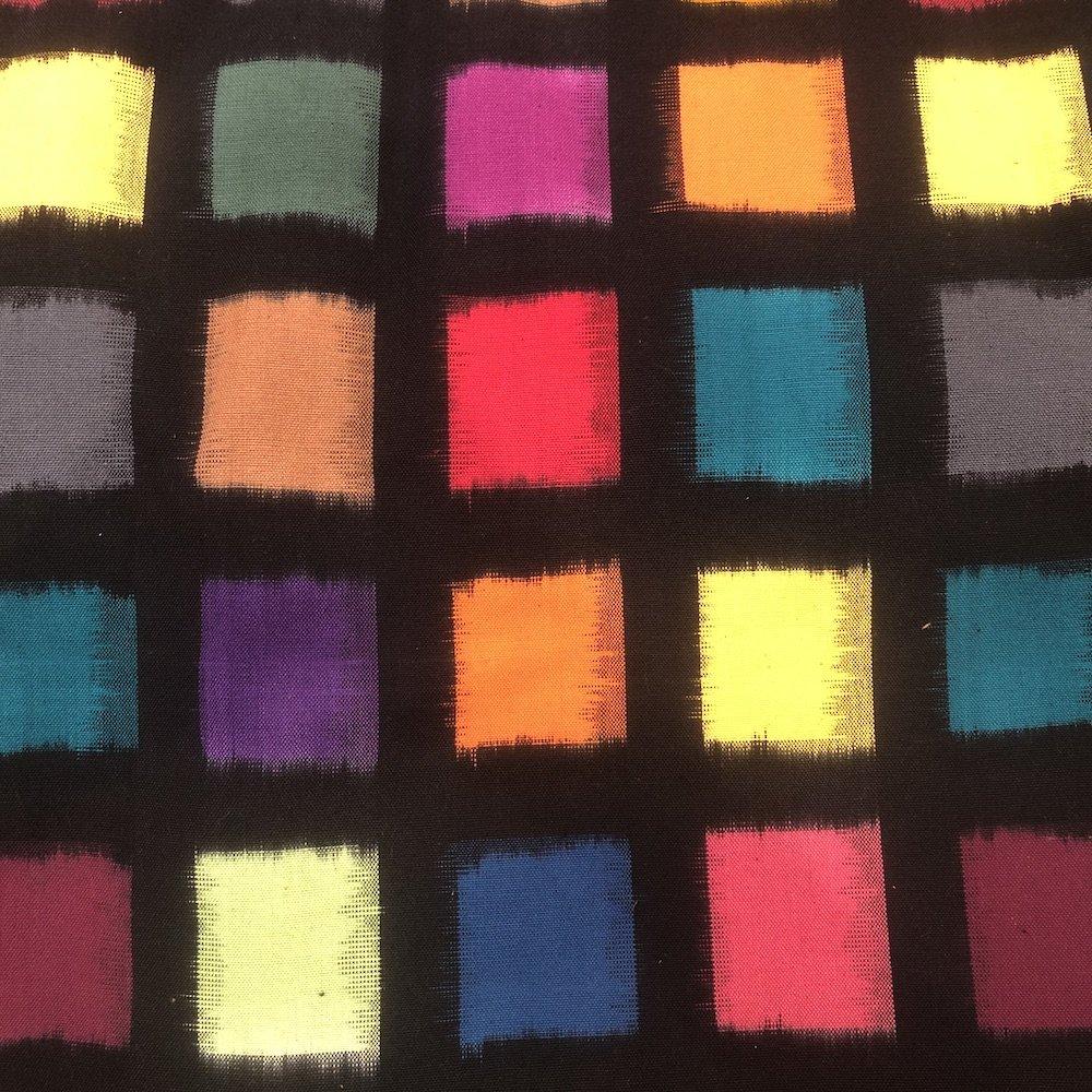 Black Multi Square - Cotton Ikat - Diamond Textiles