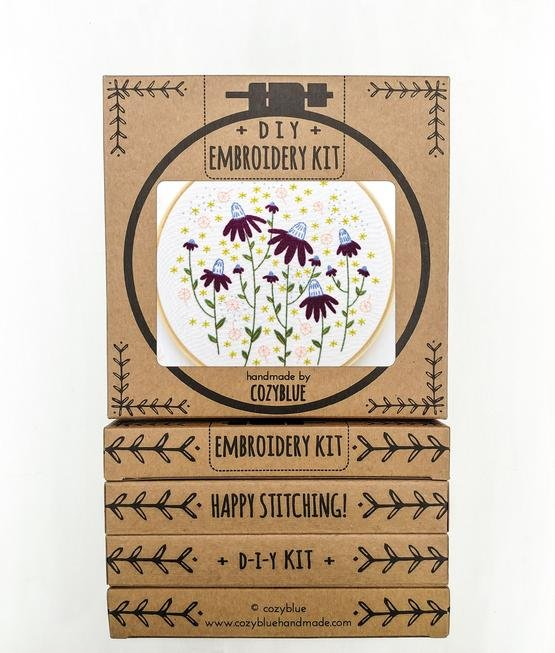 Coneflower Magic - Cozy Blue - Embroidery Kit