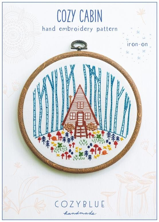Cozy Cabin - Cozy Blue - Iron-On Embroidery Pattern