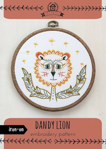 Dandy Lion - Cozy Blue - Iron-On Embroidery Pattern