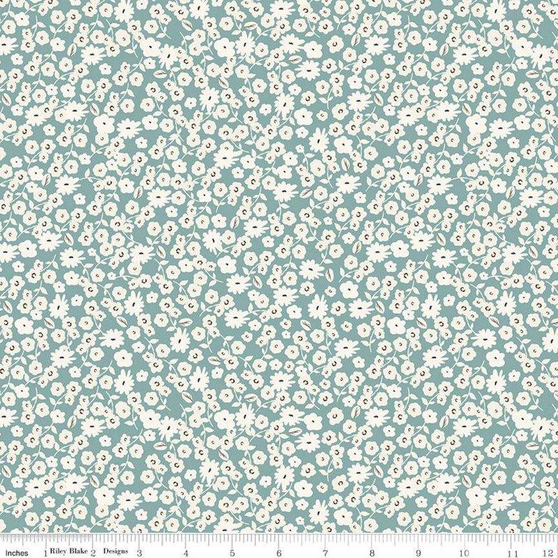 Gingham Gardens - Blossoms Teal - Riley Blake