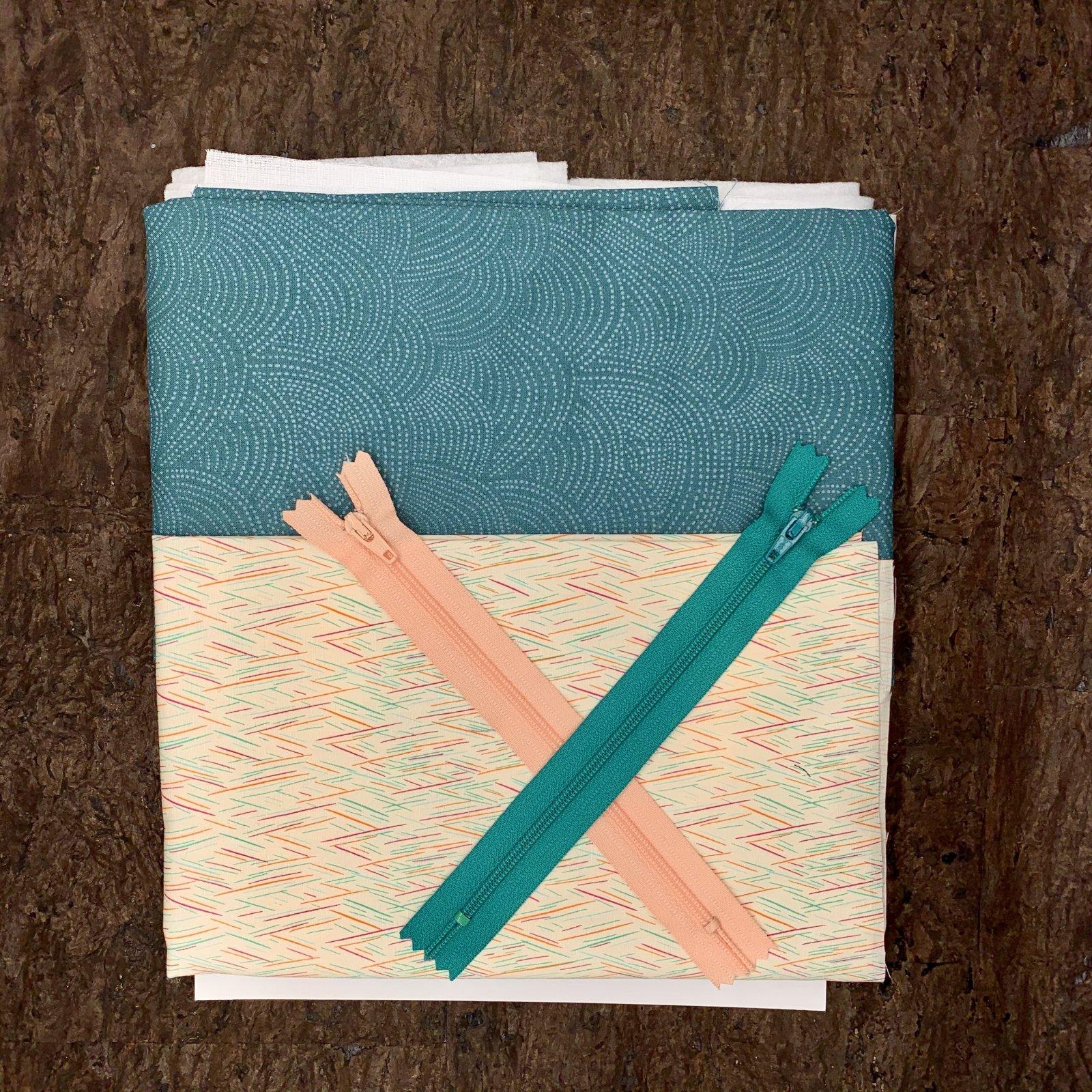 Stitch Zip Pouch Kit - Teal Dash