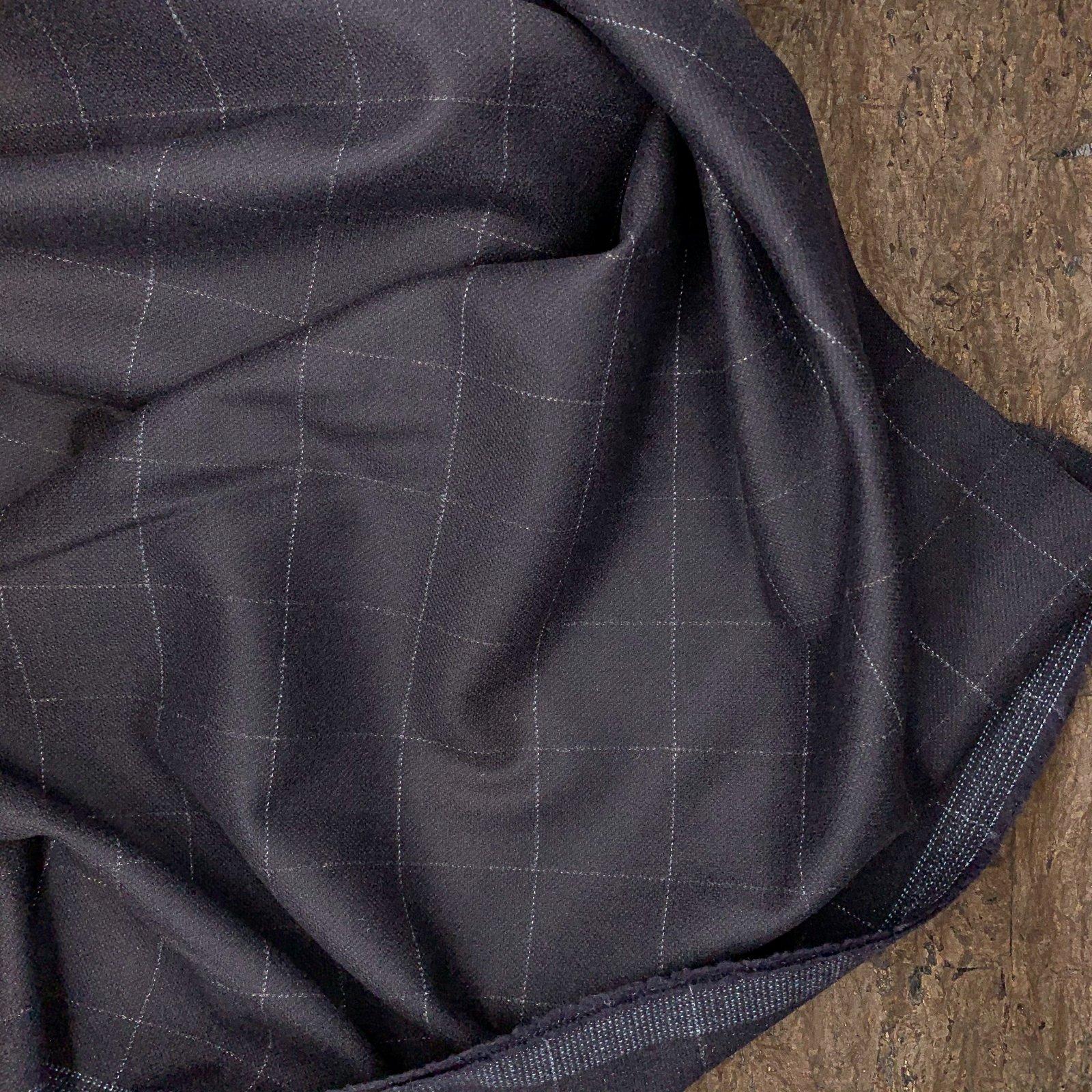Dark Navy Windowpane Plaid - Italian Wool