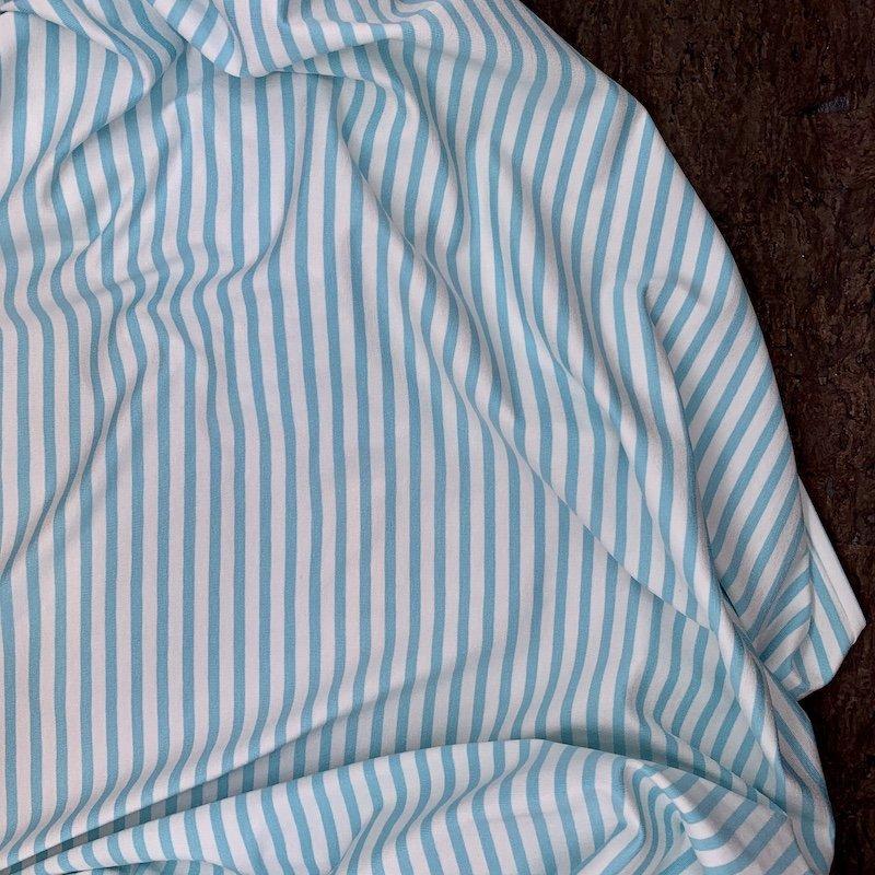 Arctic Blue & White Stripe - Rayon Jersey Knit