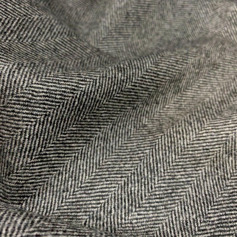 Black & White Herringbone - Wool Suiting