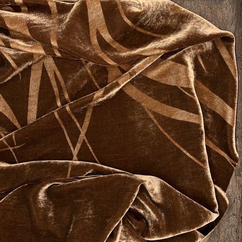 Brown - Border Print - Silk Velvet