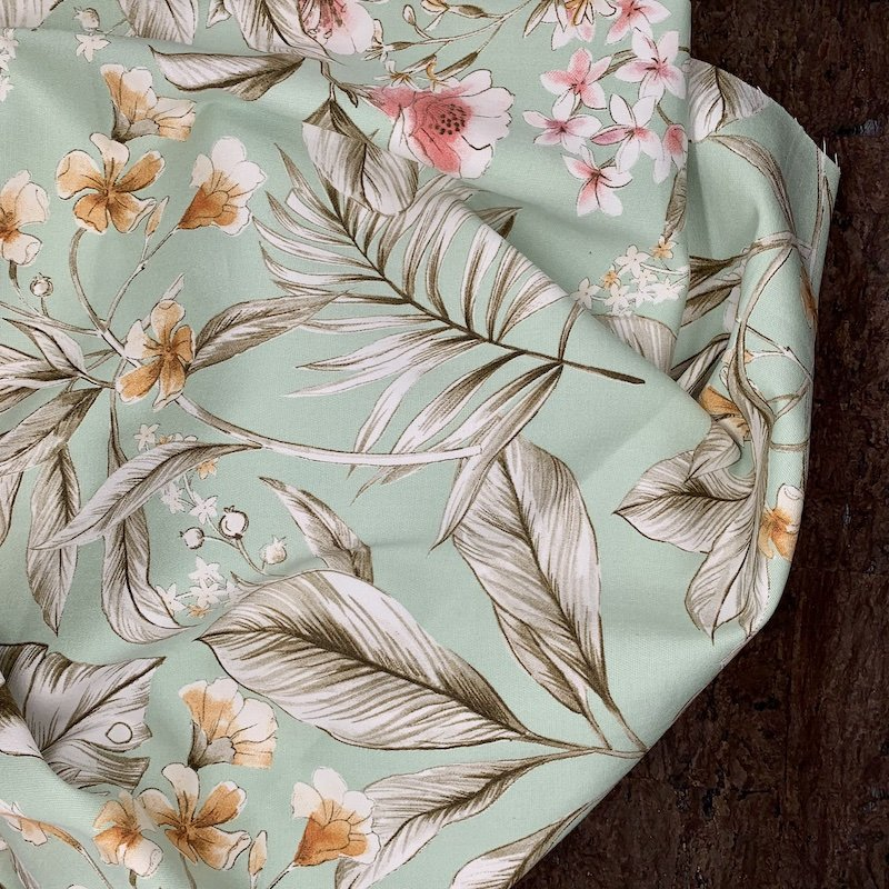 Stretch Cotton - Mint Floral - Italy