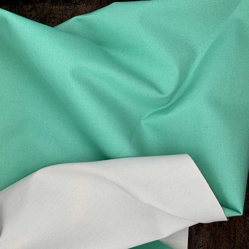 Double Faced Stretch Denim - Mint & White - Italy