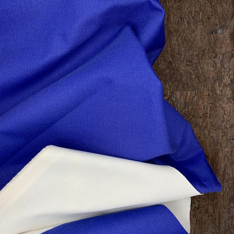 Double Faced Stretch Denim - Royal & White - Italy