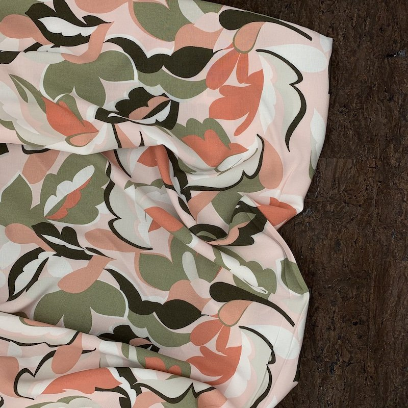 Viscose Challis - Peach & Green Abstract Floral - Italy