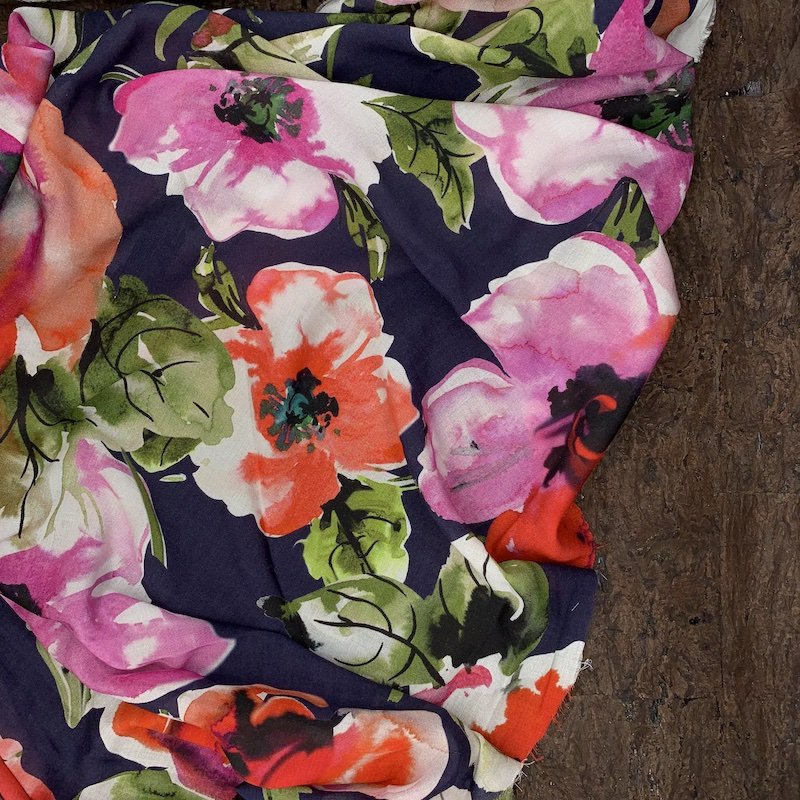 Viscose Voile - Painterly Floral - Italy