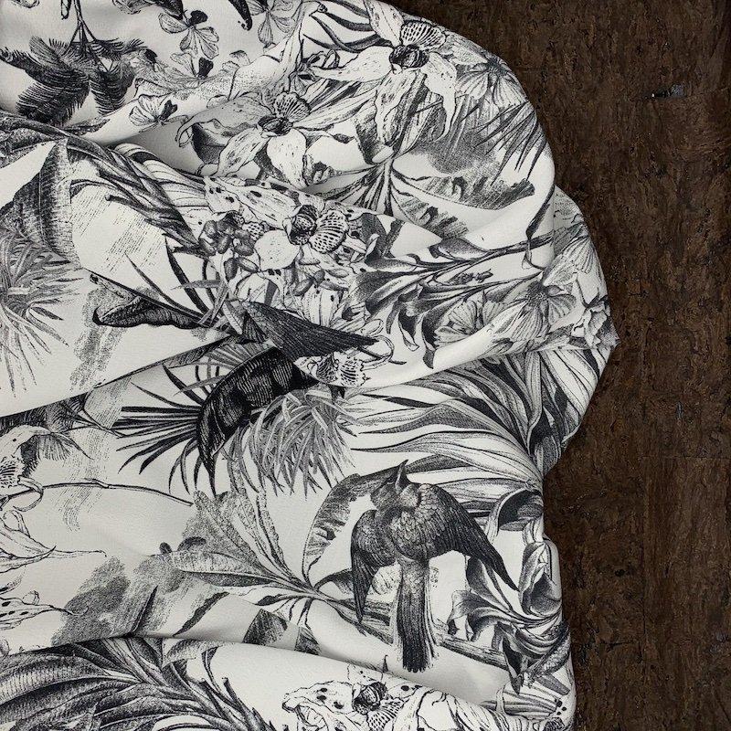 Viscose Crepe - Avian Floral Sketch - Italy