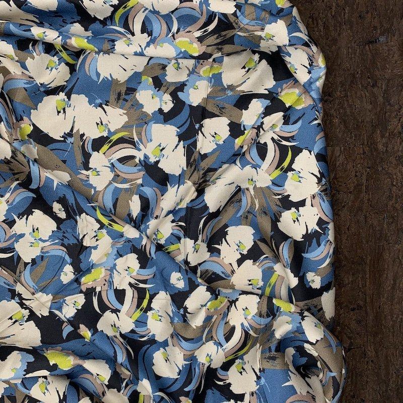 Viscose Sateen - Blue & Green Brushstroke Floral - Italy