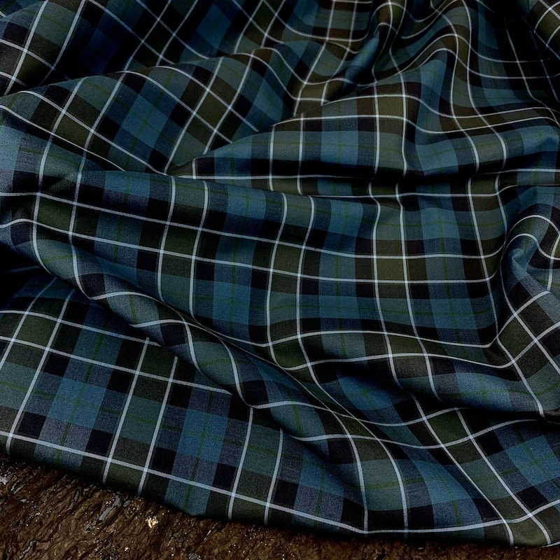 REMNANT - 1 3/4 yd - Teal Plaid - Italian Cotton Shirting