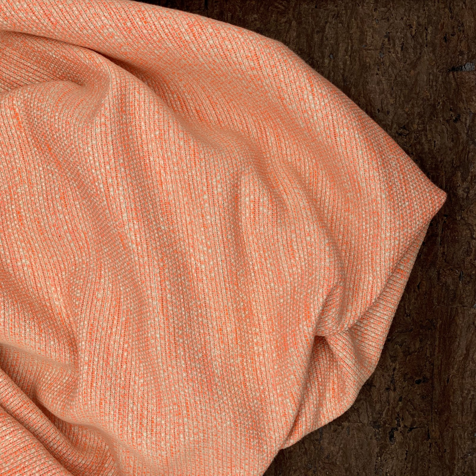 Cotton Suiting - Neon Orange & Tan