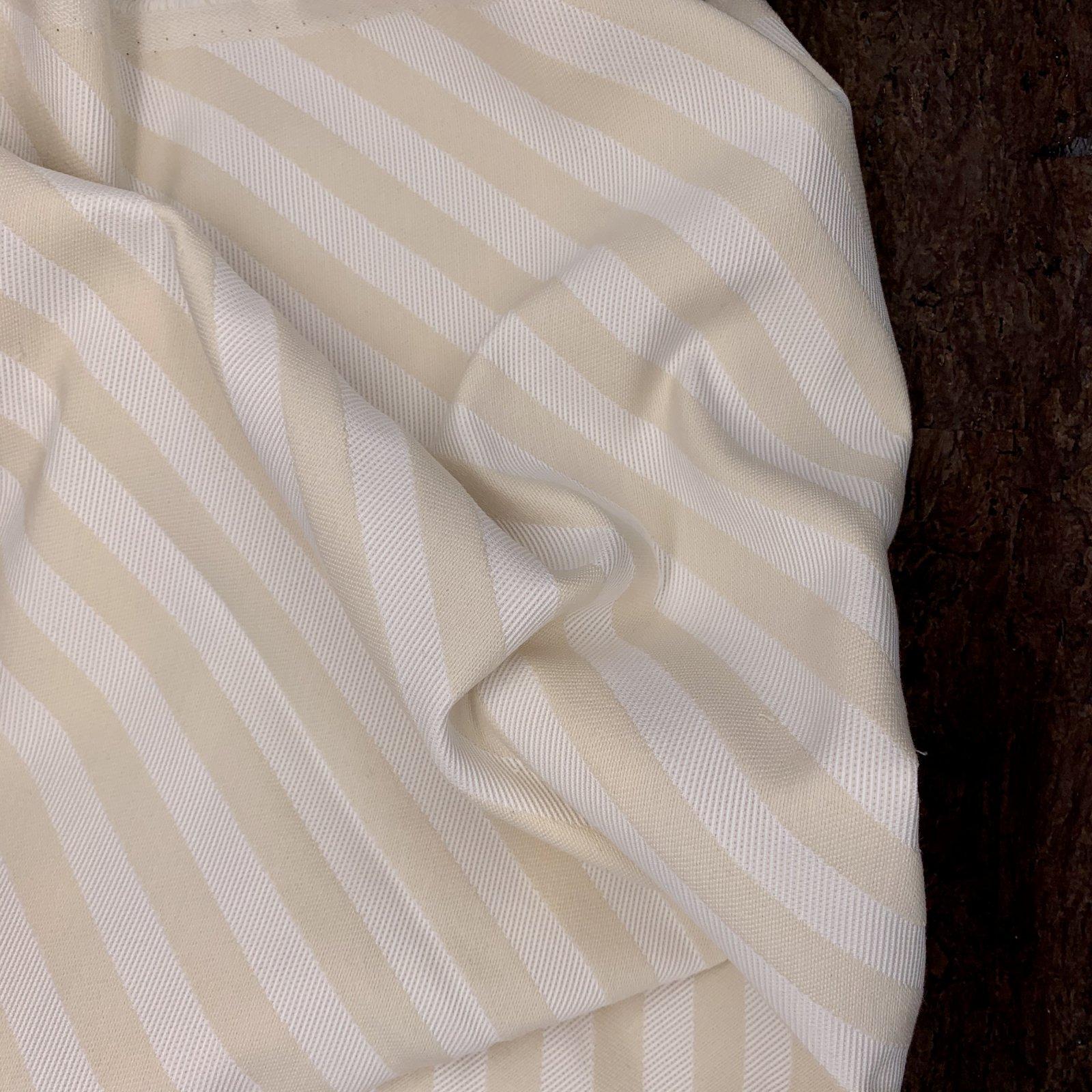 Cotton Suiting - Cream & White Diagonal Stripe