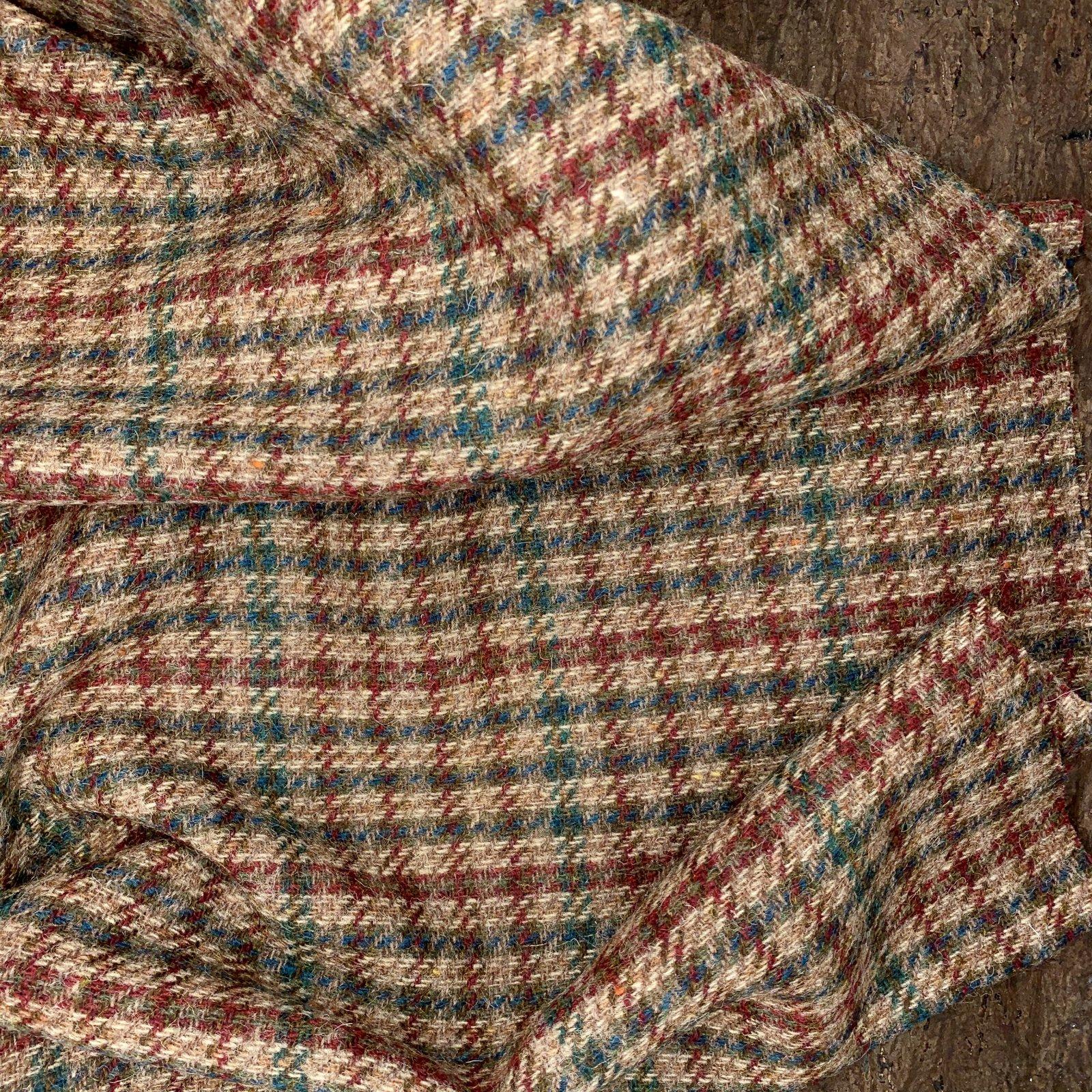 Designer Wool Coating - Maroon & Blue Plaid Weave