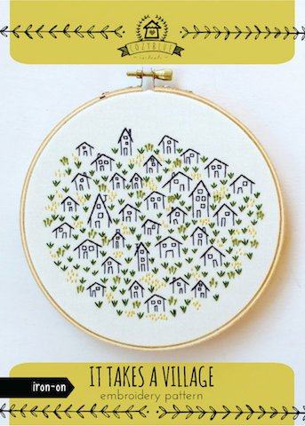 It takes a Village - Cozy Blue - Iron-On Embroidery Pattern