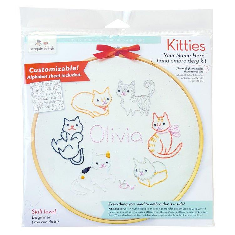 Kitties - Penguin & Fish Embroidery Wall Art Kit