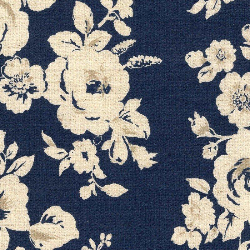 Navy - Vintage Roses - Cotton/Linen Sheeting - Kokka