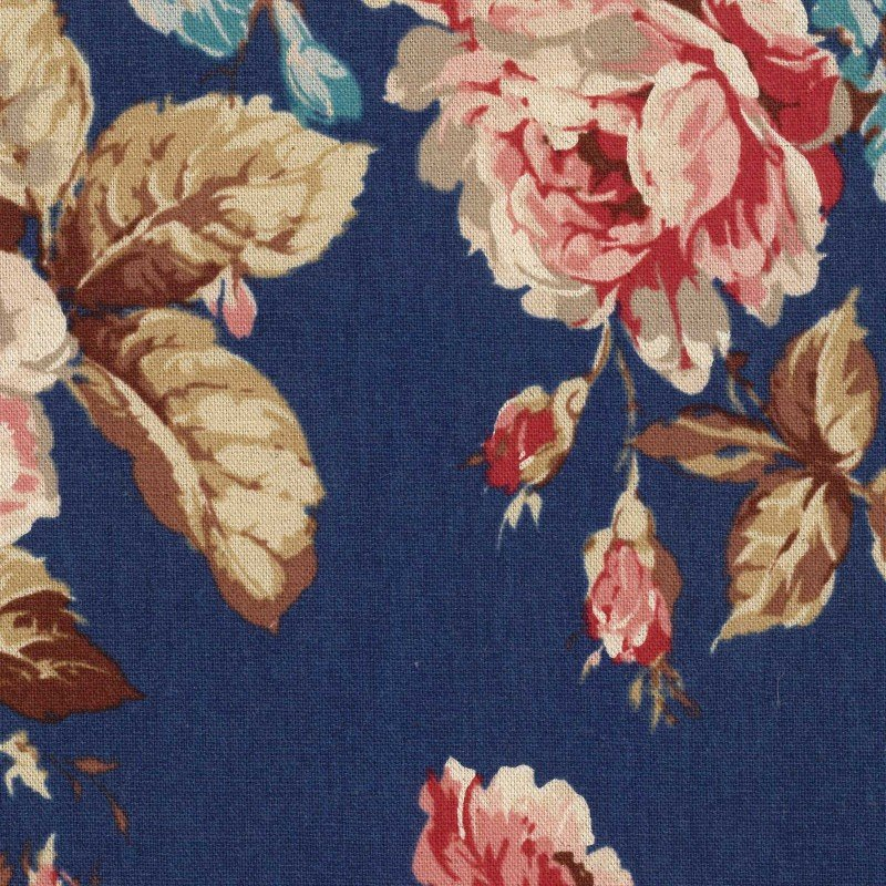 British Flower Garden - Cotton/Linen Sheeting - Kokka