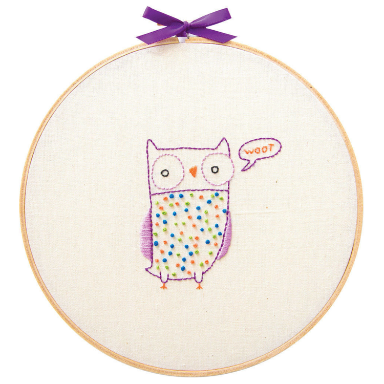Owl - Penguin & Fish Embroidery Wall Art Kit