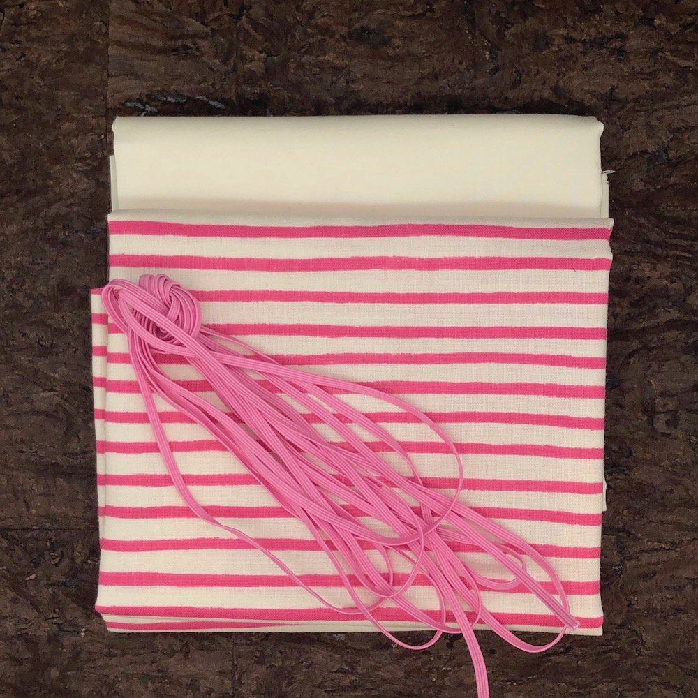 Pink Stripes - Mask Kit - 1/8 Flat Elastic, 4 Masks