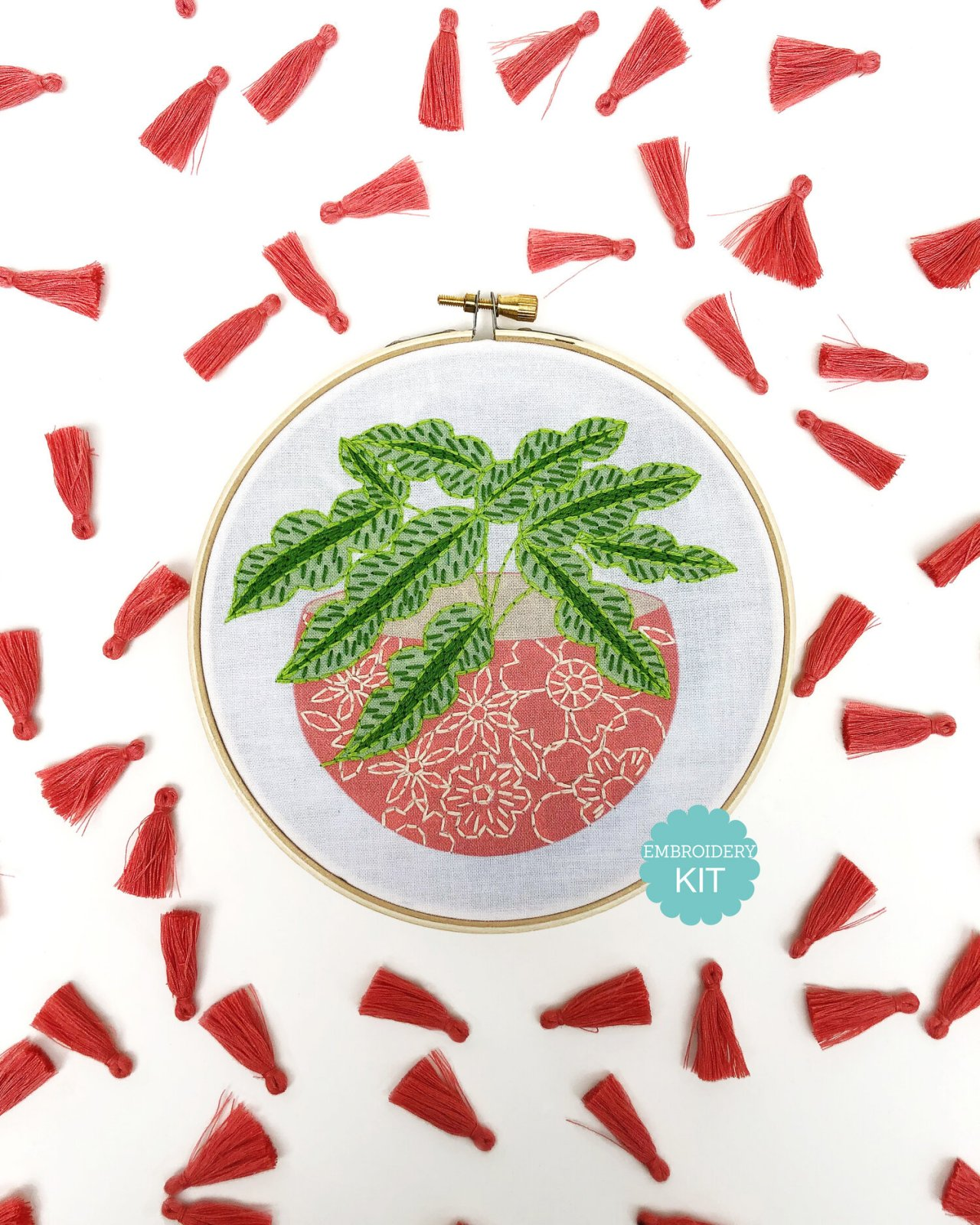 RikRack Embroidery Kit - Pink Flower Pot