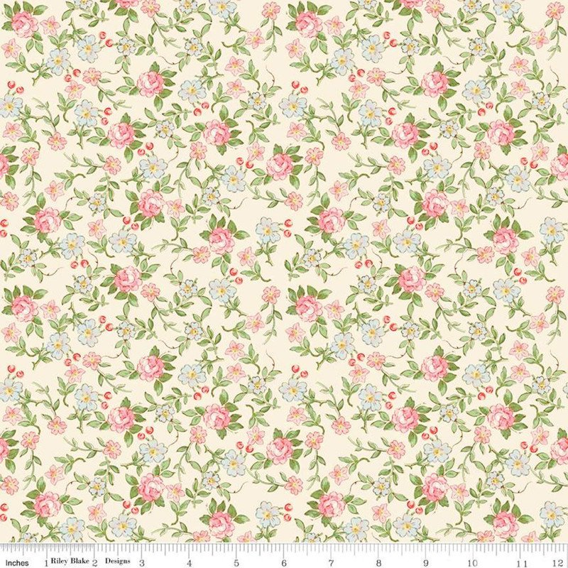 Rose & Violet's Garden - Sweet Blossoms Cream - Riley Blake
