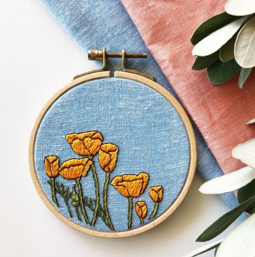 Peaceful Poppies Kit - Rosanna Diggs Embroidery