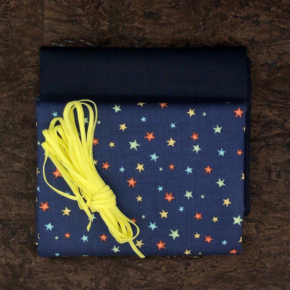 Stars Yellow - Mask Kit - 1/8 Flat Elastic, 4 Masks
