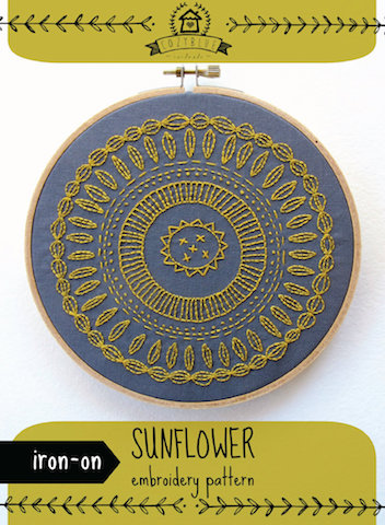 Sunflower - Cozy Blue - Iron-On Embroidery Pattern