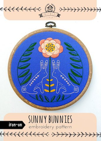 Sunny Bunnies - Cozy Blue - Iron-On Embroidery Pattern