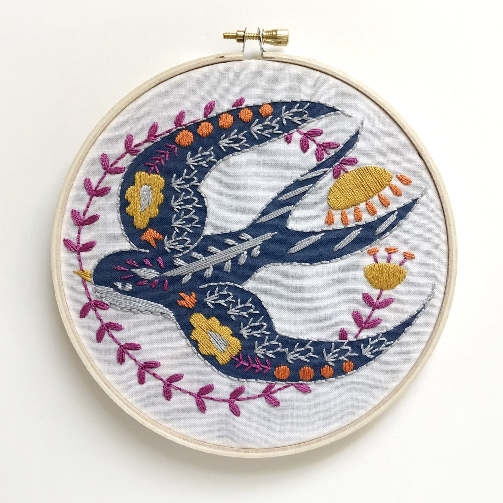 Swallow - RikRack Embroidery Kit
