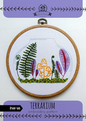 Terrarium - Cozy Blue - Iron-On Embroidery Pattern