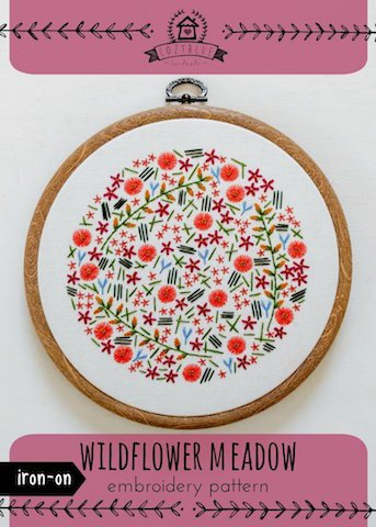 Wildflower Meadow - Cozy Blue - Iron-On Embroidery Pattern