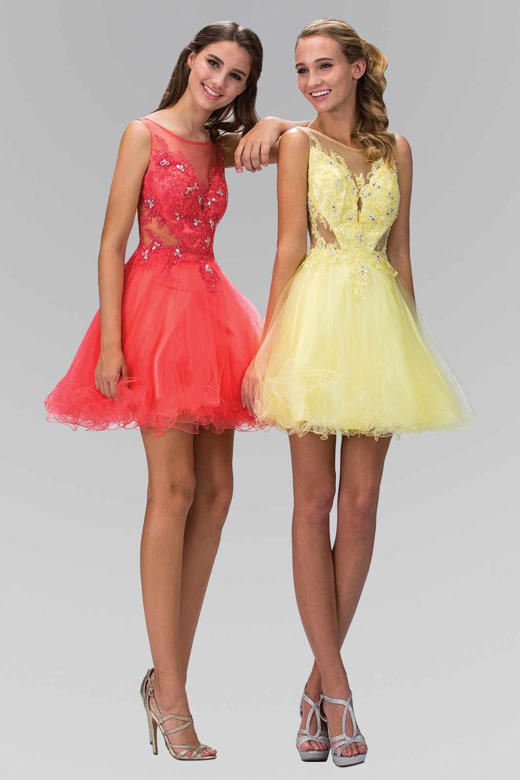 Yellow Sheer Bodice With Sheer Back and Tulled Skirt