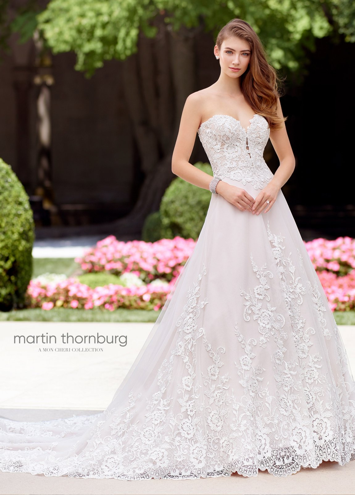 Sublime Strapless Lace, Tulle and Beaded A-Line Gown