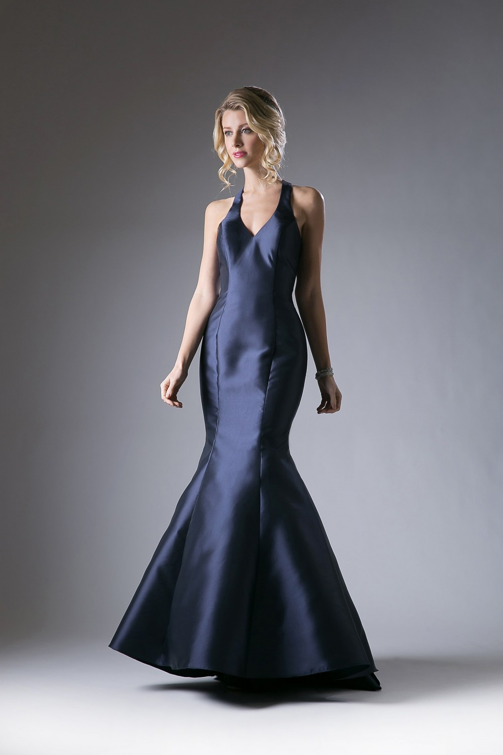Navy Satin Mermaid Gown