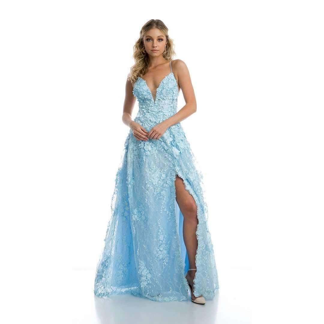 Ice Blue Flower Applique Side Slit Strappy Back Prom Gown