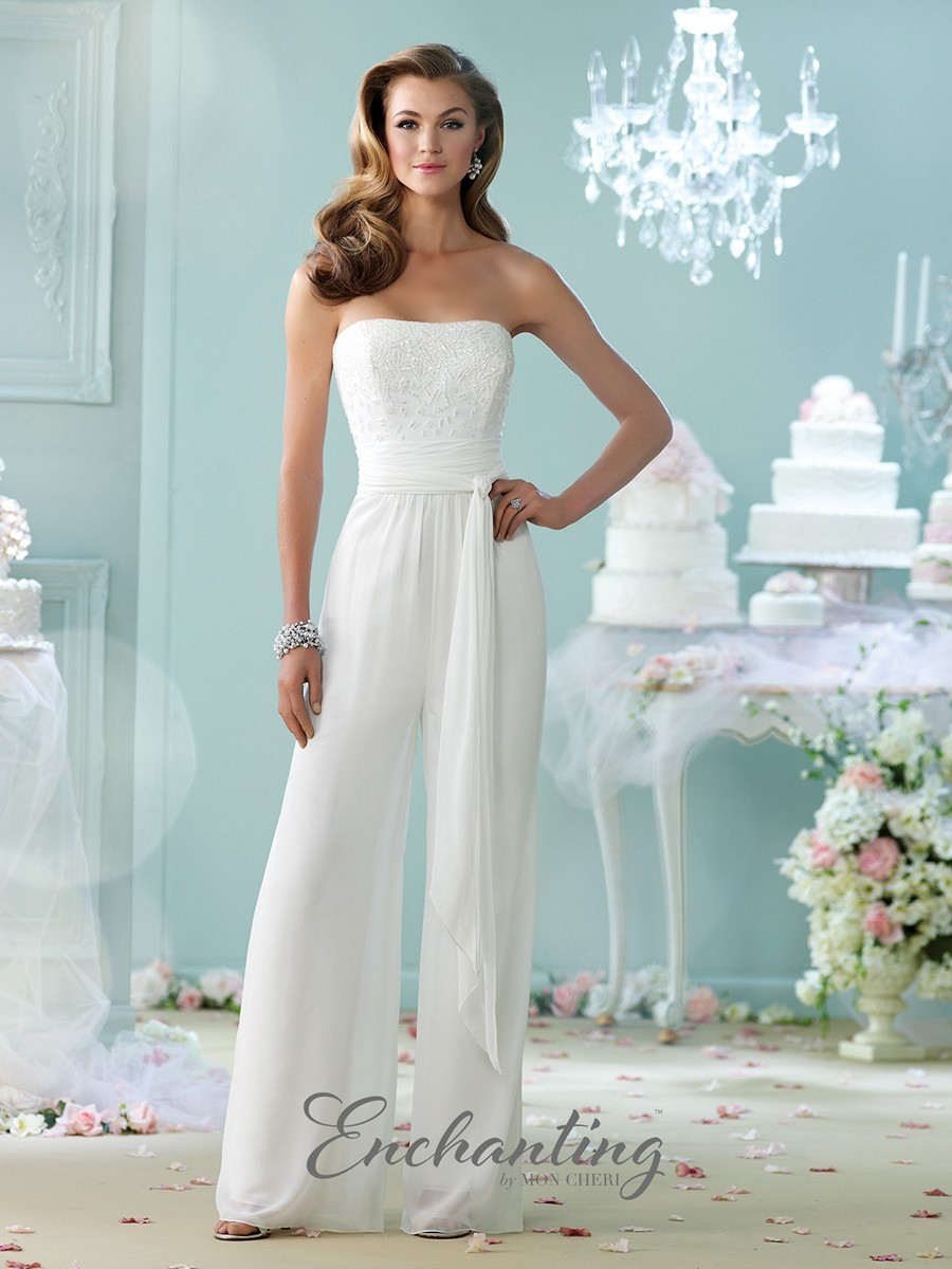 Strapless Bridal Jumpsuit With Beaded Bodice