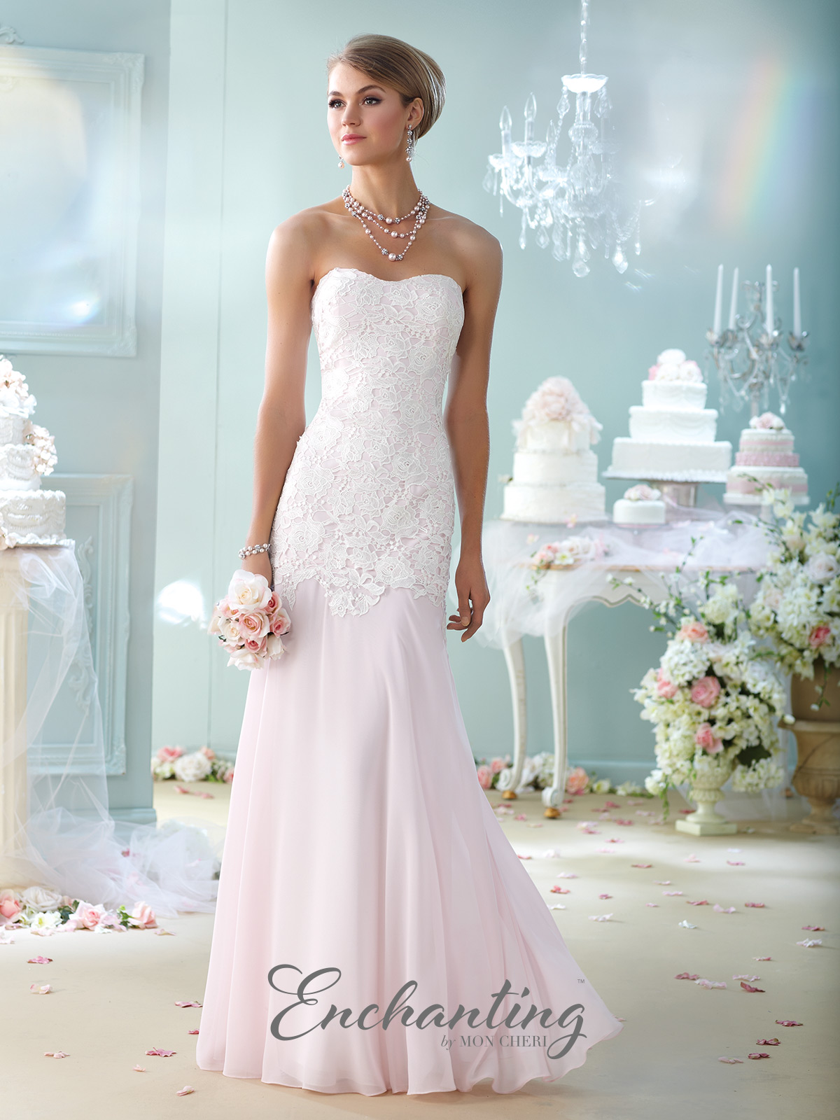 Strapless Lace and Chiffon Fit and Flare Gown with Matching Shawl