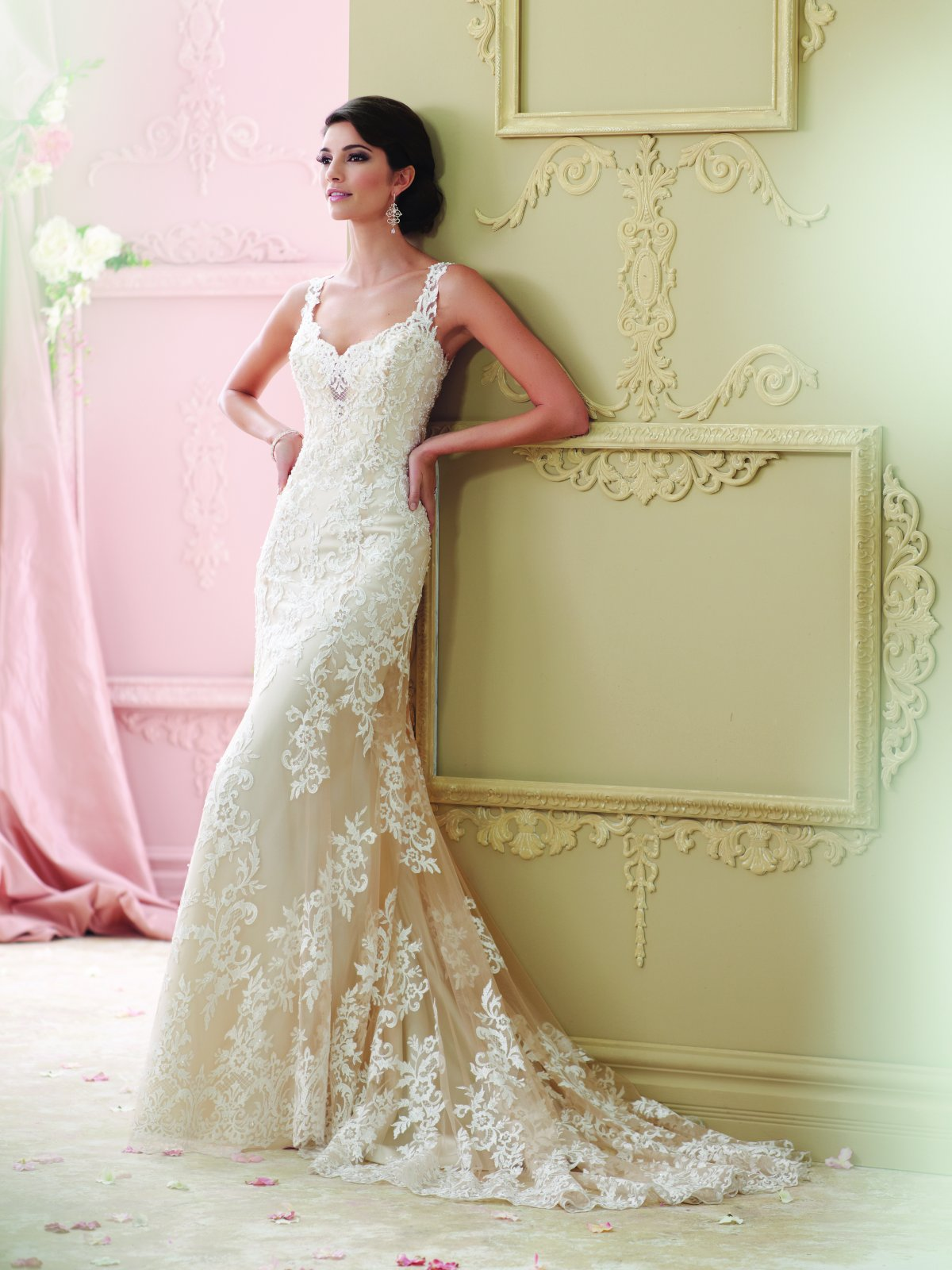 Classic A-Line Gown with Embroidered Lace Over Satin