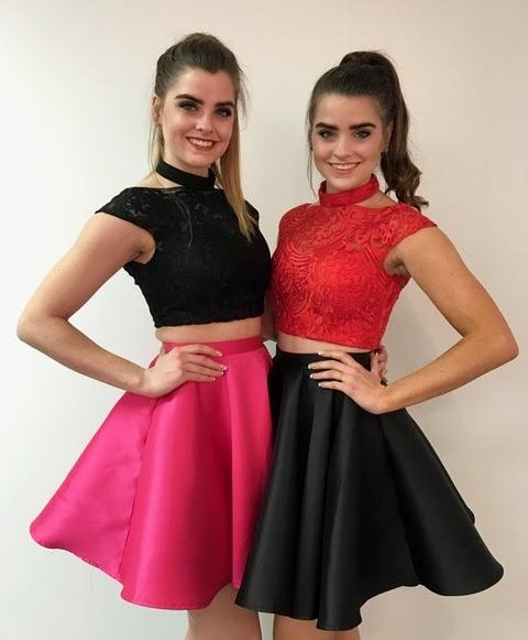 Two-Piece Embroidered Homecoming Dress