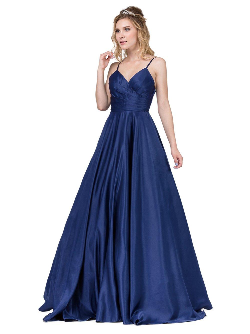 Navy Long V-Neck Prom Dress with Adjustable Straps
