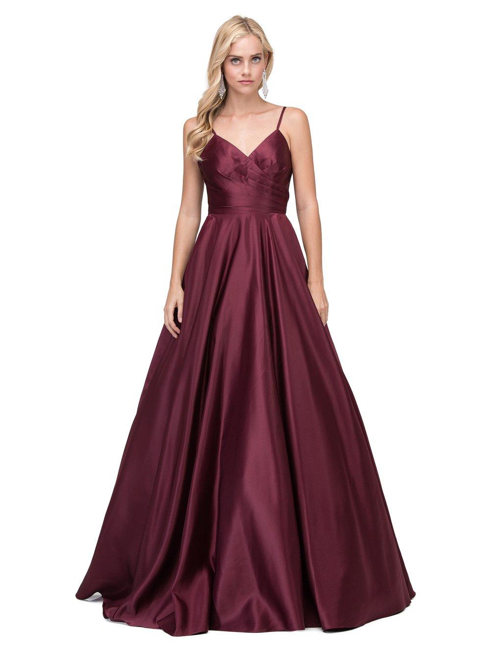 Wine Long V-Neck Prom Dress with Adjustable Straps